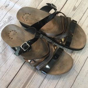 MEPHISTO Strappy Multi Leather Slide Sandals